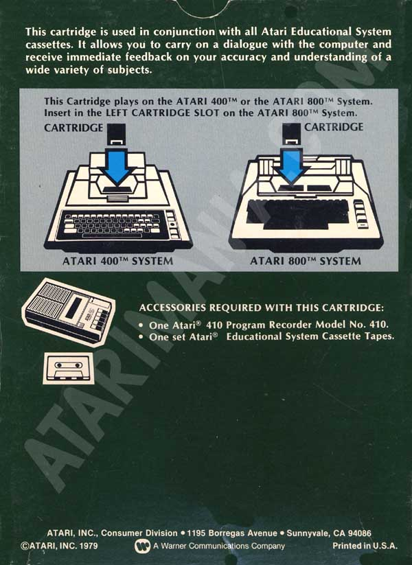 Atari Educational System Lesson Cassettes/Atari Educational System CXL 4001-2.jpg