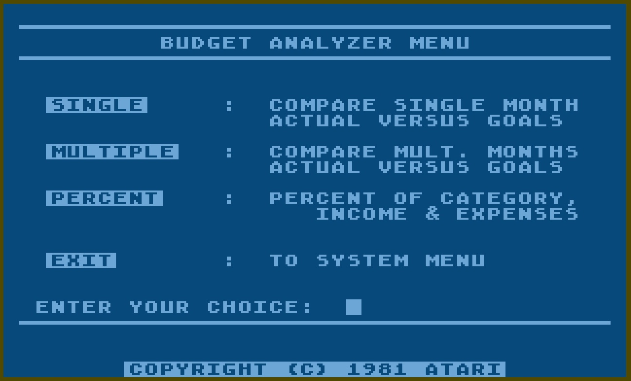 Atari Personal Financial Management System/12-Budget Analyzer Menu.jpg