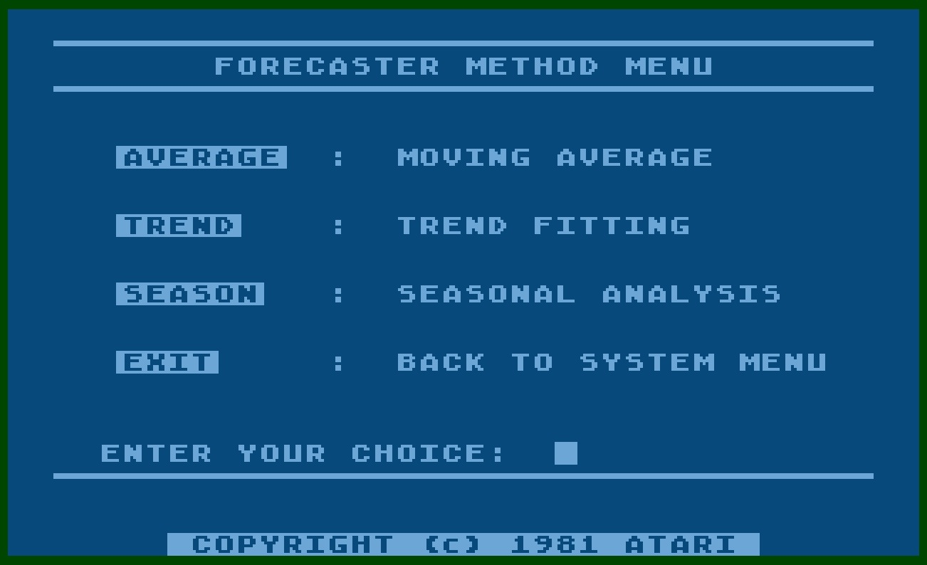 Atari Personal Financial Management System/13-Forecaster Method Menu.jpg