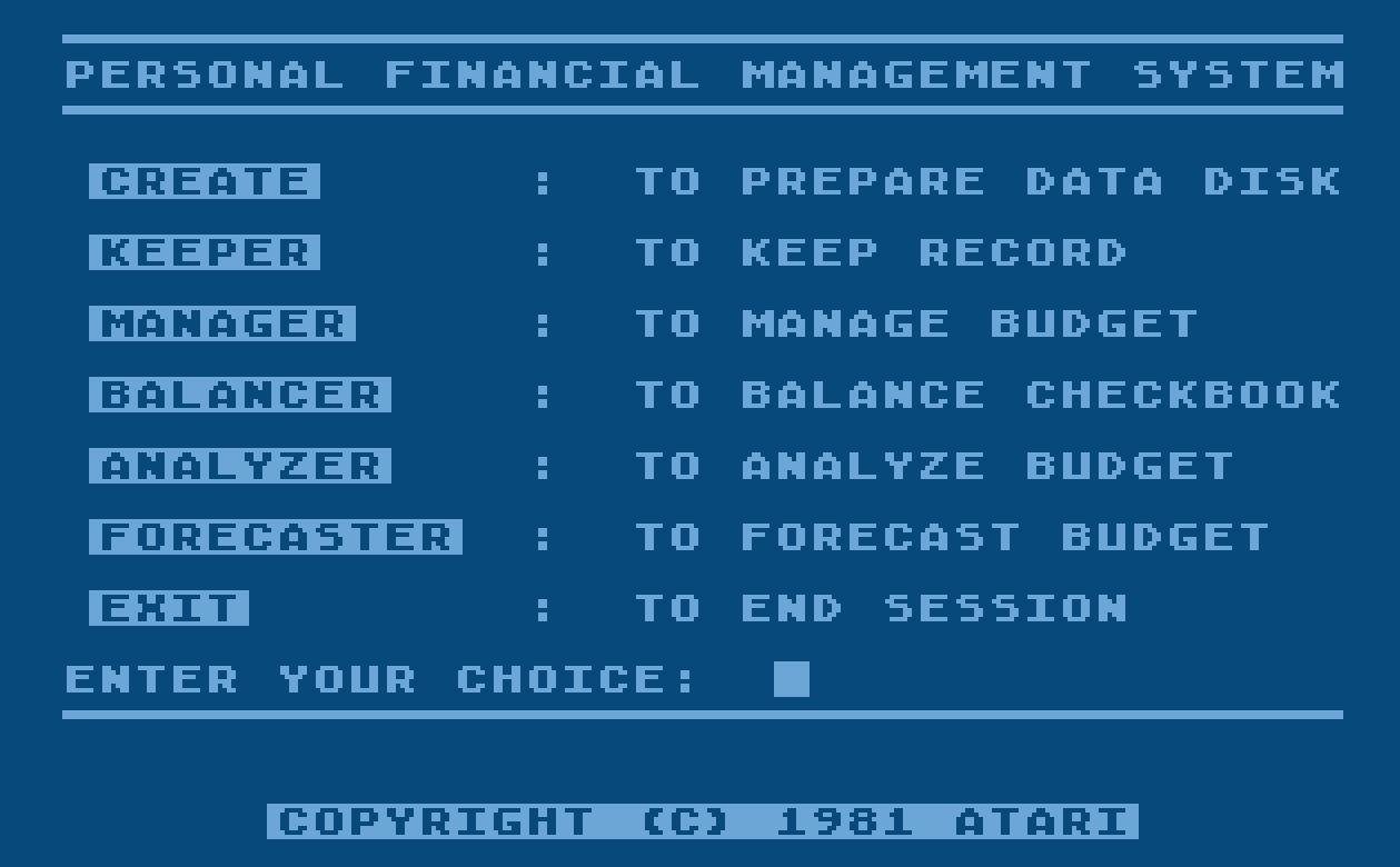 Atari Personal Financial Management System/2-Main Menu.jpg